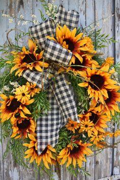Sunflower Wreath, Gingham Burlap Ribbon, Greenery. $85.00, via Etsy.