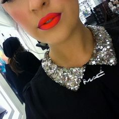 MAC neon lipstick. This could be Magenta lip liner, Morange lipstick, & Neo Orange pigment dusted over.