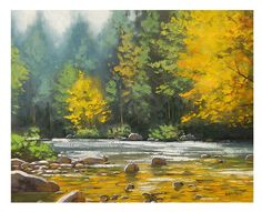 Autumn OIL PAINTING River Impressionist Landscape Fall Art by award winning artist Graham Gercken. $159.00, via Etsy.