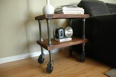 Reclaimed wood & pipe end table on wheels