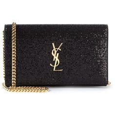 Saint Laurent 'Monogram' clutch (4.190 BRL) ❤ liked on Polyvore featuring bags, handbags, clutches, black, bolsas, ysl, yves saint laurent, cotton purse, glitter clutches and monogrammed clutches