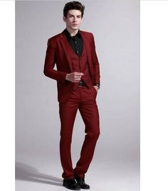 High Quality New Wine Red Business Casual Men Suit Wedding Suits For Men Wedding… Maroon Suit, Burgundy Suit, Red Suit, Prom Suits For Men, Mens Suits, Business Casual Men, Men Casual, Modern Tuxedo, Wedding Suits
