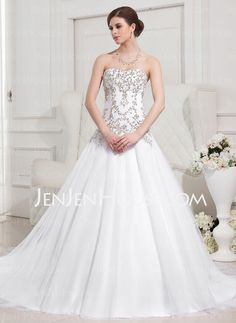 Wedding Dresses - $186.59 - Ball-Gown Sweetheart Chapel Train Satin Tulle Wedding Dress With Embroidery Beadwork (002012752) http://jenjenhouse.com/Ball-Gown-Sweetheart-Chapel-Train-Satin-Tulle-Wedding-Dress-With-Embroidery-Beadwork-002012752-g12752