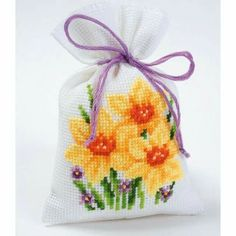 Daffodils Bag from Vervaco counted cross stitch kit. Cross Stitch Cards, Counted Cross Stitch Kits, Cross Stitch Flowers, Cross Stitch Embroidery, Hand Embroidery, Cross Stitch Patterns, Sachet Bags, Pot Pourri, Lavender Bags