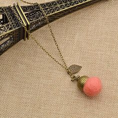 Amazon.com: Handmade Felt Wool Necklace Acorn Pendant Leaf Charm Bronze Necklace Vintage: Jewelry