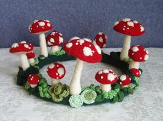 Muscaria Fairy Ring Centerpiece (felt mushrooms) by WanderingLydia