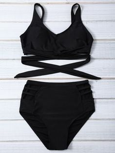 SHARE & Get it FREE | Bandage High Waist Bikini Set - BlackFor Fashion Lovers only:80,000+ Items • New Arrivals Daily Join Zaful: Get YOUR $50 NOW!