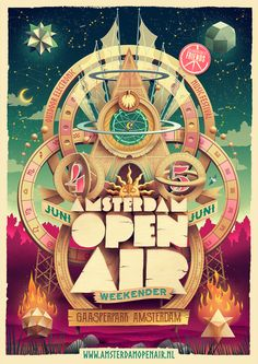 Artwork for the annual Amsterdam Open Air festival. The new theme for 2016 was Astrology. We tried to keep the look and feel a bit spiritual like last year's edition. Festival Logo, Air Festival, Festival Posters, New Theme, Dream Vacations, Night Life, Amsterdam, Culture, Gallery