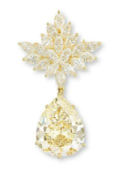 COLOURED DIAMOND AND DIAMOND BROOCH/PENDANT DESIGNED AS A MARQUISE-CUT DIAMOND FOLIATE CLUSTER, SUSPENDING A PEAR-SHAPED FANCY LIGHT BROWNISH GREENISH YELLOW DIAMOND WEIGHING 26.75 CARATS, MOUNTED IN 18K GOLD, 6.0 CM LONG