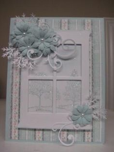This card is beautiful! SU's Lovely as a Tree in background. This is the Madison Window Die. by Android