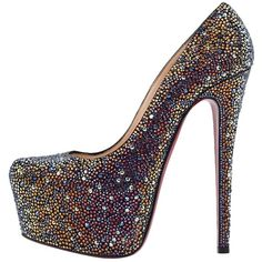 Pre-owned Christian Louboutin Daffodile Strass Multicolor Pumps ($2,305) ❤ liked on Polyvore featuring shoes, pumps, multicolor, christian louboutin shoes, multi colored shoes, multi-color pumps, colorful high heel shoes and pre owned shoes