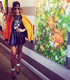 Rihanna Instagram Orange Bomber Jacket Outfit