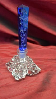 Blue / Crystal Art Deco Czech glass perfume bottle | eBay