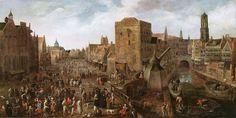 Joost Cornelisz Droochsloot (Utrecht, 1585/6 - Utrecht, 1666), De Ganzenmarkt en de Stadhuisbrug in Utrecht, ca 1620