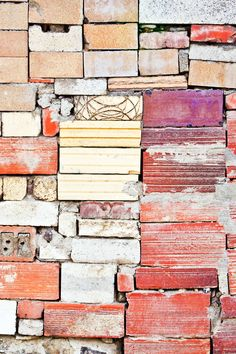 interesting different colours and rough visual texture Textures Patterns, Color Patterns, Pattern Designs, Art Grunge, Architectural Features, Architectural Elements, Brick Wall, Color Inspiration, Beautiful