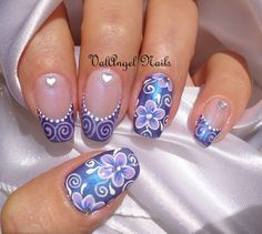 "Nail art ""Elegant Violet"" - For discounted Beauty Supplies be sure to see http://www.beautysupplylosangeles.com/829w"