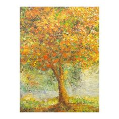 Flaunting autumn foliage a tree stands bathed in sunlight as a warm breeze rustles dancing leaves.  Alfred Cran-Mensah pays tribute to nature with this elegant…