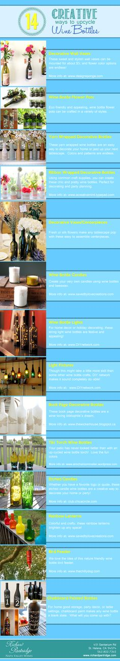 Richard Partridge Wines' 14 favorite ways to re-use/re-purpose/up-cycle those empty wine bottles!