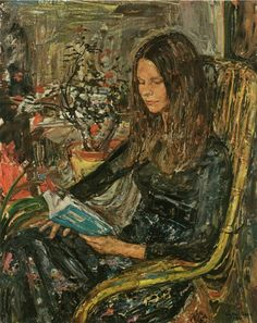The Reading Girl (1974). Leo Van Paemel (Flemish-Belgian, 1914-1995).  Van Paemel studied at the Royal Academy of Fine Arts of Antwerp and the National Institute of Fine Arts in Antwerp.  Van Paemel painted the North Sea and everything related to it: the beach life, the atmosphere on the promenade, and the bustle of the fishermen and marinas His specialty was painting portrait figures.