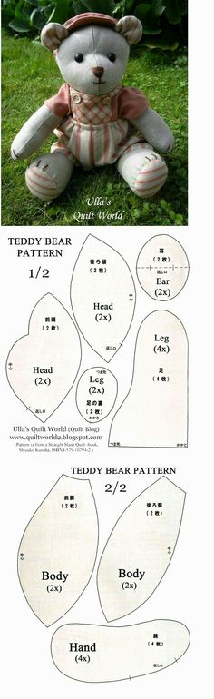 Free Memory Bear Pattern To Print – – Image Search Results - Stofftiere Sewing Tutorials, Sewing Crafts, Sewing Projects, Sewing Patterns, Clothes Patterns, Sewing Diy, Patchwork Patterns, Free Sewing, Free Knitting