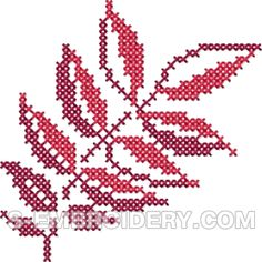Autumn leaf cross stitch machine embroidery design #2