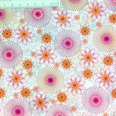 Hot Topics Yellow Pink Peach Spiral Designs Cotton Fabric