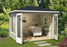 Summer house with large folding door - The GartenHaus GmbH is your affordable online shop for house and garden: garden house, sauna, carpo - Backyard Studio, Backyard Sheds, Outdoor Sheds, Outdoor Rooms, Backyard Landscaping, Outdoor Living, Outdoor Decor, Summer House Garden, Home And Garden