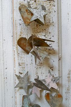 Metal rusty hearts and stars garland shabby by AnitaSperoDesign, $85.00