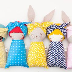 Off Sleeping Bunny & Girl Doll Combo PDF Pattern 2479 image 1 Fabric Toys, Fabric Crafts, Sewing Crafts, Sewing Projects, Doll Sewing Patterns, Sewing Dolls, Girl Dolls, Baby Dolls, Sleeping Bunny