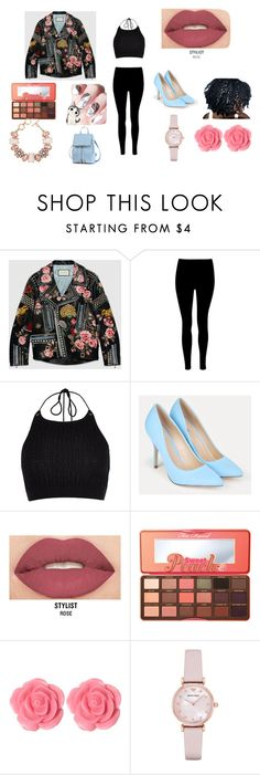 """""""walking around in Tokyo"""" by aniapenguin on Polyvore featuring Gucci, River Island, JustFab, Smashbox, Too Faced Cosmetics, Dollydagger, ShoeDazzle and Emporio Armani"""