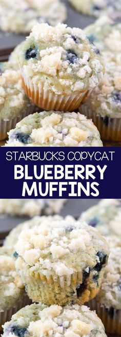 Starbucks Copycat Blueberry Muffins - this EASY blueberry muffin recipe is better than Starbucks and has a delicious streusel on top! EVERYONE loved these!