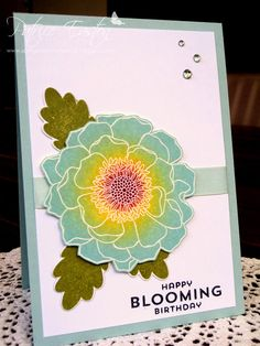 Spring Blossom Musings: Blended Bloom Birthday - sponged, Soft Sky, Daffodil Delight, with a touch of Blackberry Bliss in the centre and Old Olive leaves.