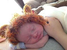 Kaden in a lion hat