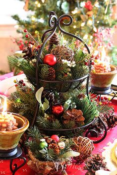 beautiful rustic plate holder - repurposed as Christmas Table Centerpiece