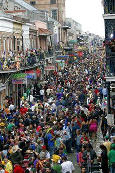 Mardi Gras in New Orleans. Bourbon Street March 2014