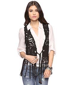 Open Weave Fringe Vest - StyleSays