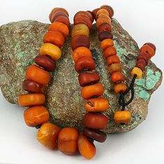 Large Old Amber Beads - African Traded like the greek komboloi Amber Beads, Amber Jewelry, Jewelry Art, Beaded Jewelry, Jewellery, African Trade Beads, African Jewelry, Ethnic Jewelry, Tibetan Jewelry