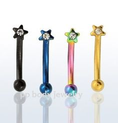"""16g 5 16"""" 8mm C Z Star Titanium Anodized Curved Eyebrow Barbell Specify Color 