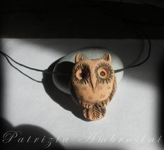 clay pendant OWL handmade by thestoneteller on Etsy