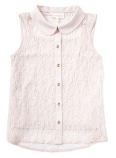 Girls Pale Pink Lace Chiffon Shirt