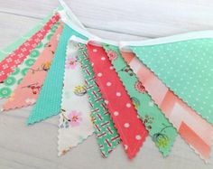 Banner Fabric Bunting Fabric Flags Woodland by thespottedbarn