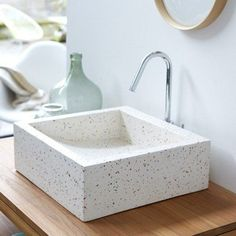 White terrazzo sink is a cute and stylish idea. Terrazzo inspiration for home interiors and redecoration ideas. Bathroom Trends, Bathroom Inspo, Bathroom Inspiration, Bathroom Furniture, Bathroom Interior, Modern Bathroom, Antique Furniture, Rustic Furniture, Outdoor Furniture
