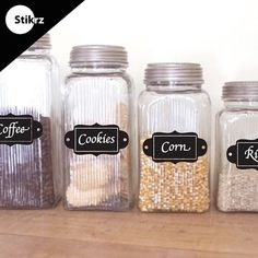 I have no idea why you would store corn in a canister, but I love the chalkboard labels!