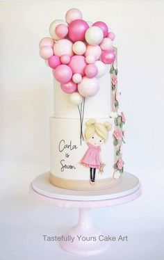 Girls Birthday Cake with Balloons - Bespoke original design by Tastefully Yours Cake Art Pretty Cakes, Cute Cakes, Beautiful Cakes, Sweet 15 Cakes, Girly Cakes, Beautiful Birthday Cakes, Fondant Cakes, Cupcake Cakes, 3d Cakes