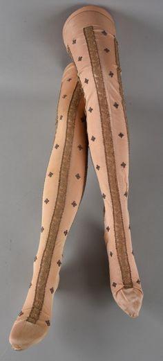 Circa 1900 Embroidered silk stockings.
