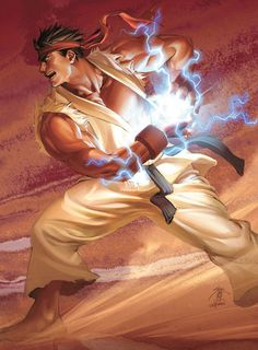 "Illustration of ""Ryu"" performing the Hadoken move. Character first appeared in ""Street Fighter II,"" released by Capcom to arcades in 1991."