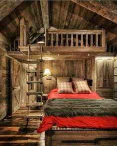 DIY Home Projects Rustic cabin bedroom interior Chalet Design, Home Design, Design Ideas, Interior Design, Cabin Design, Design Styles, Design Homes, Cabin House Plans, Log Cabin Homes