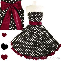 New Retro Vintage Style Polka Dot Burgundy Ruffle Dress