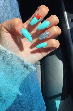 41 fascinating nails you need to see 00051 Summer Acrylic Nails, Best Acrylic Nails, Perfect Nails, Gorgeous Nails, Tiffany Blue Nails, Aycrlic Nails, Fire Nails, Dream Nails, Holographic Nails