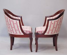 Pair of elegant #armchairs #gondole in #Cuban #mahogany. Restauration, #19th century. For sale on Proantic by Atelier Francois frères.